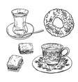 traditional turkish food and drinks sketch vector image