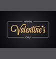 valentines day golden banner on black background vector image vector image