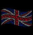 waving great britain flag collage of sickle and vector image