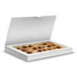 White box of chocolates isolated on white vector image vector image