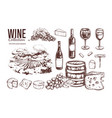 wine set hand drawn 3 vector image vector image