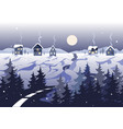 winter landscape with road houses and trees vector image vector image