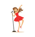 young beautiful girl in red dress with microphone vector image vector image