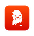 south korea map with flag icon digital red vector image
