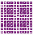 100 totalizator icons set grunge purple vector image vector image
