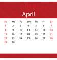 april 2018 calendar popular red premium for vector image vector image