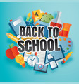 back to school banner with education items and vector image vector image