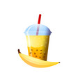 banana smoothie in a cup superfoods and health or vector image vector image