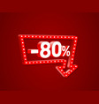 banner 80 off with share discount percentage neon vector image vector image