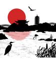 beautiful asian landscape near water vector image