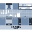 Blue kitchen interior in flat style vector image vector image