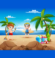 cartoon of two boy playing on the beach vector image vector image