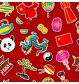China seamless pattern Chinese sticker symbols vector image