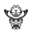 cowboy man head with mustache in hat vector image