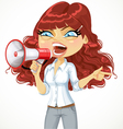 Curly-haired girl emotionally shouts in megaphone vector image vector image