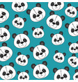 cute bear panda heads pattern vector image