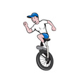 Cyclist Riding Unicycle Cartoon vector image vector image