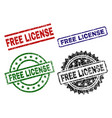 damaged textured free license seal stamps vector image vector image