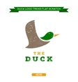 Duck flying brand logo sign style trend vector image