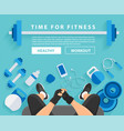 fitness woman hand with wearing watchband vector image vector image
