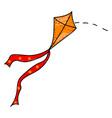 flying kite on white background vector image