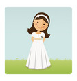 girl with communion dress on blue sky background vector image