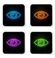 glowing neon eye icon isolated on white vector image