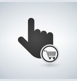 hand pointer symbol and shopping cart concept for vector image vector image