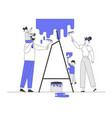 happy family with kids painting wall with rollers vector image vector image