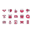 happy valentines day love romantic feeling icons vector image