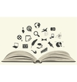 icons drawn from an open book vector image