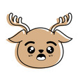 isolated cute deer face vector image vector image