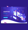landing page isometric concept business analysis vector image vector image