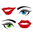 lips and eyes vector image vector image