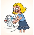 little girl washing hands vector image vector image