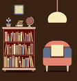 Modern Design Interior Sofa And Bookcase vector image vector image