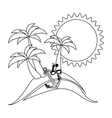 monochrome contour with beach with anchor and vector image