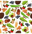 Nuts grain kernels berries seamless background vector image vector image