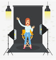 photostudio girl sitting vector image