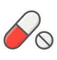 pills filled outline icon medicine and healthcare vector image vector image