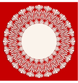 Round beige ornament frame on red background vector image vector image