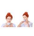 set curly ginger woman in white t-shirt vector image vector image