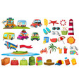 set travel element vector image