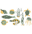 stylized underwater nature collection icons vector image