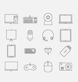Thin electronic computer device icon set vector image
