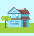 three storey house of blue color with front door vector image