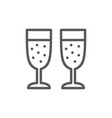 two glasses champagne line icon vector image vector image