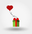 valentine s day gift box and balloon - heart vector image vector image