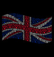 waving united kingdom flag pattern of wi-fi icons vector image
