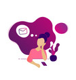 young beautiful woman thinking about new message vector image